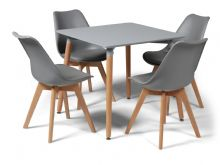 Toulouse Dining Set  - 80cms Square Grey Table & 4 Grey Chairs